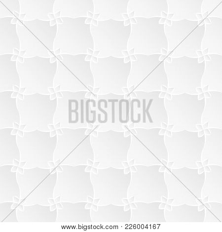 Neutral White Texture. Stylized Floral Trellis Background With 3d Carving Effect. Vector Seamless Re