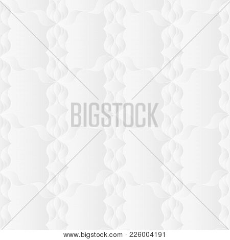 Neutral White Floral Art Deco Texture. Decorative Background With 3d Folded Paper Effect. Vector Sea