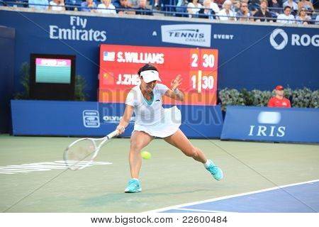 TORONTO: AUGUST 11. Jie Zheng plays against Kim Clijsters in the Rogers Cup 2011 on August 11, 2011 in Toronto, Canada.