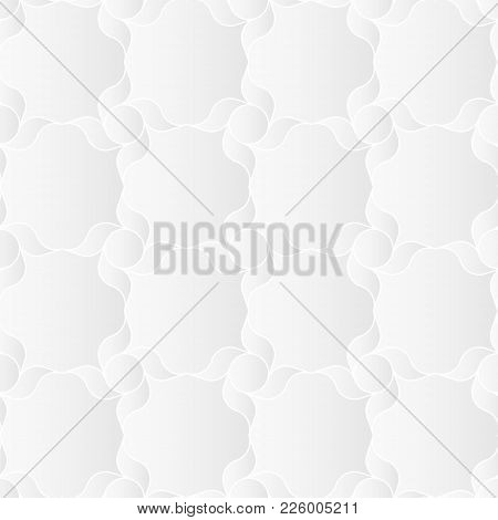 Neutral White Geometric Texture. Abstract Oriental Arabesque Background With 3d Effect.  Vector Seam