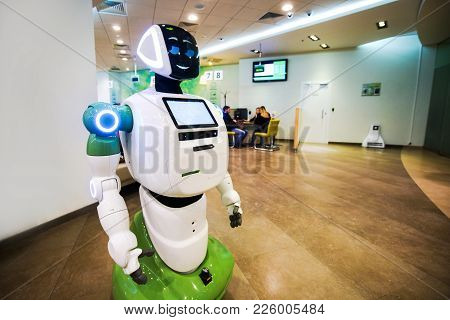 Russia. Moscow. February 10, 2018: A Robot Serving Customers In Sberbank.
