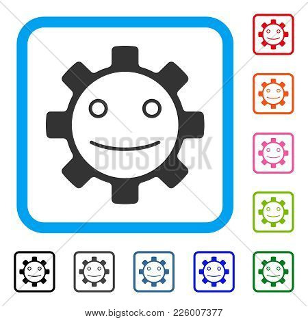 Gear Smile Smiley Icon. Flat Gray Iconic Symbol In A Blue Rounded Squared Frame. Black, Gray, Green,