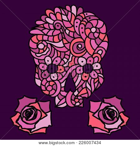 Day Of The Dead Or Halloween Pink Doodle Skull With Floral Ornament And Two Roses Over Purple Backgr