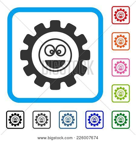 Options Gear Laugth Smiley Icon. Flat Grey Iconic Symbol Inside A Blue Rounded Square. Black, Gray,
