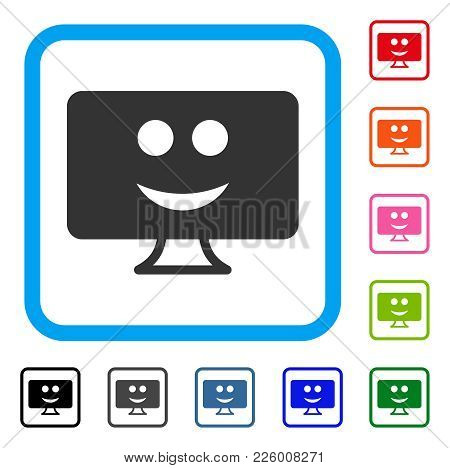 Display Smile Icon. Flat Gray Iconic Symbol In A Blue Rounded Frame. Black, Gray, Green, Blue, Red,