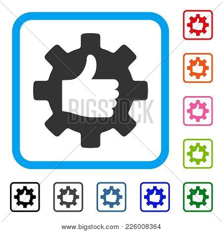Gear Thumb Up Icon. Flat Grey Iconic Symbol Inside A Blue Rounded Square. Black, Gray, Green, Blue,