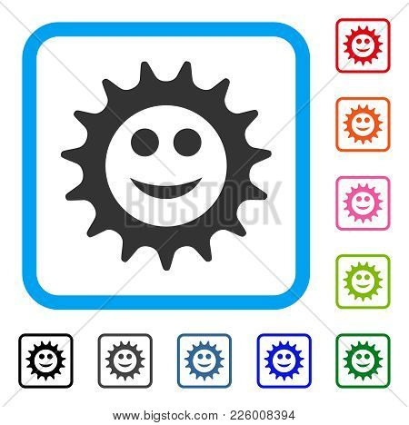 Cog Glad Smiley Icon. Flat Gray Pictogram Symbol In A Blue Rounded Rectangular Frame. Black, Gray, G