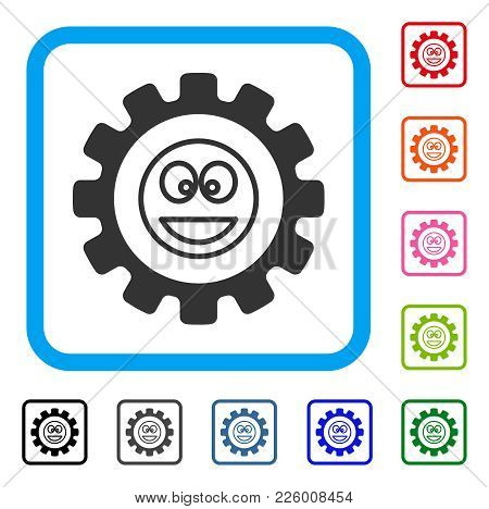 Settings Gear Smile Icon. Flat Grey Pictogram Symbol Inside A Blue Rounded Squared Frame. Black, Gra