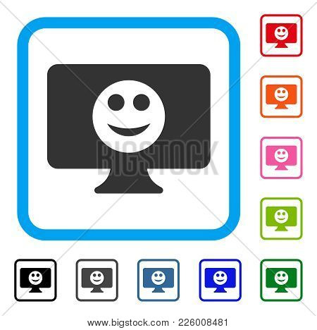 Display Smile Icon. Flat Grey Pictogram Symbol In A Blue Rounded Squared Frame. Black, Gray, Green,