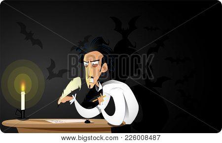 Great Dark Gothic Writer Writes Terrible Story. Concept Cartoon Vector