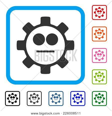 Gear Neutral Smiley Icon. Flat Grey Pictogram Symbol Inside A Blue Rounded Squared Frame. Black, Gra