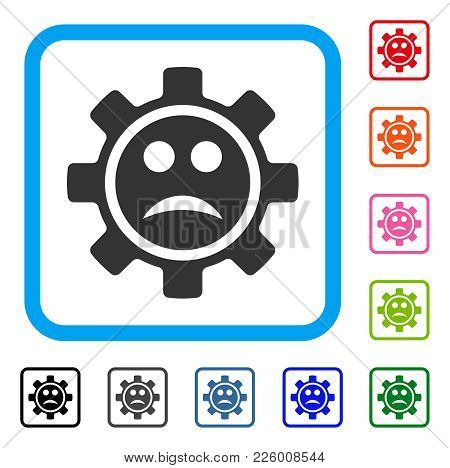 Service Gear Sad Smiley Icon. Flat Grey Pictogram Symbol Inside A Blue Rounded Squared Frame. Black,