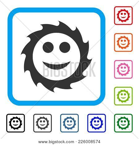 Circular Blade Smile Icon. Flat Gray Pictogram Symbol Inside A Blue Rounded Rectangle. Black, Gray,