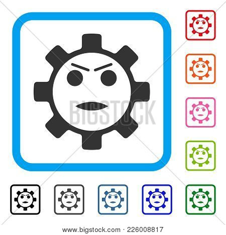 Gear Angry Smiley Icon. Flat Gray Iconic Symbol Inside A Blue Rounded Rectangular Frame. Black, Gray