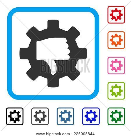 Gear Thumb Down Icon. Flat Gray Iconic Symbol Inside A Blue Rounded Frame. Black, Gray, Green, Blue,