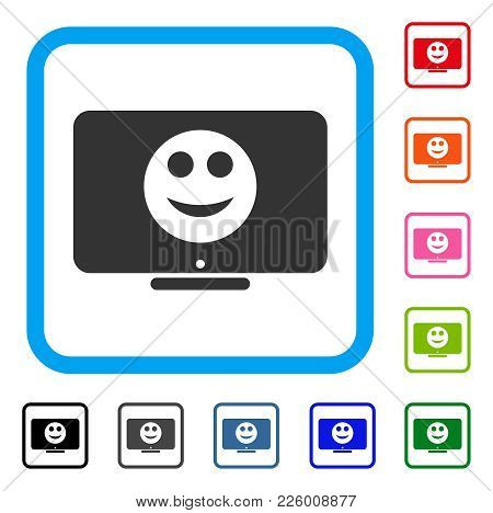 Display Smile Icon. Flat Gray Pictogram Symbol Inside A Blue Rounded Frame. Black, Gray, Green, Blue