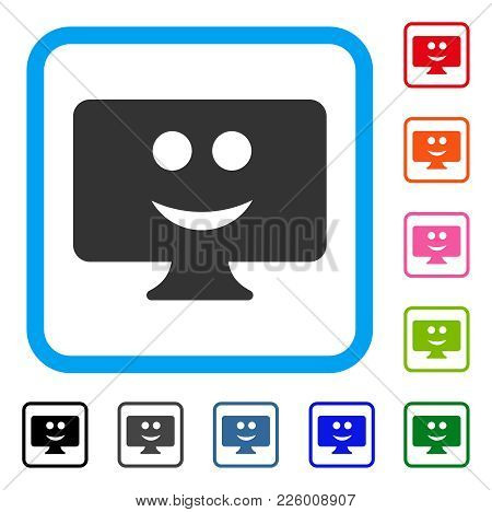 Display Smile Icon. Flat Gray Pictogram Symbol In A Blue Rounded Square. Black, Gray, Green, Blue, R