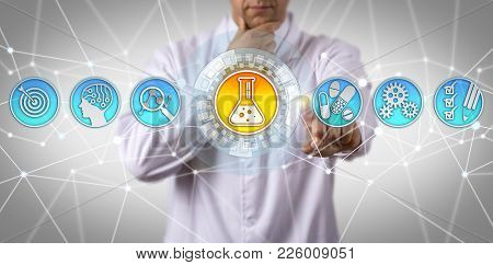 Pensive doctor of chemical engineering aided by AI pondering how to identify a substance with desirable therapeutic effect. Concept for drug discovery, formulation and development, biological target. poster