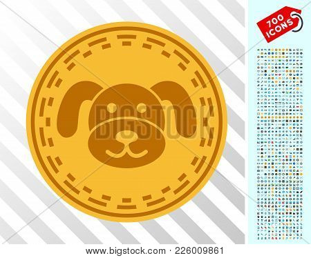 Digital Puppycoin Pictograph With 7 Hundred Bonus Bitcoin Mining And Blockchain Pictographs. Vector