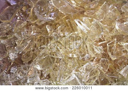 A Pile Of Clear Hard Candy Glass.