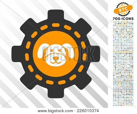 Puppycoin Options Gear Pictograph With 7 Hundred Bonus Bitcoin Mining And Blockchain Icons. Vector I