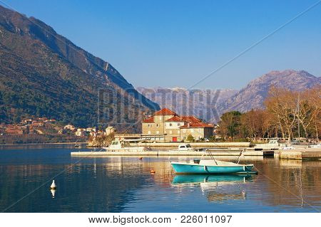 Sunny Winter Day In Montenegro. View Of Bay Of Kotor And Building Of The Institute Of Marine Biology