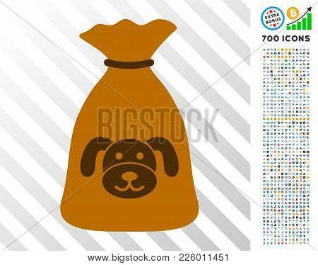 Puppy Sack Pictograph With 700 Bonus Bitcoin Mining And Blockchain Icons. Vector Illustration Style