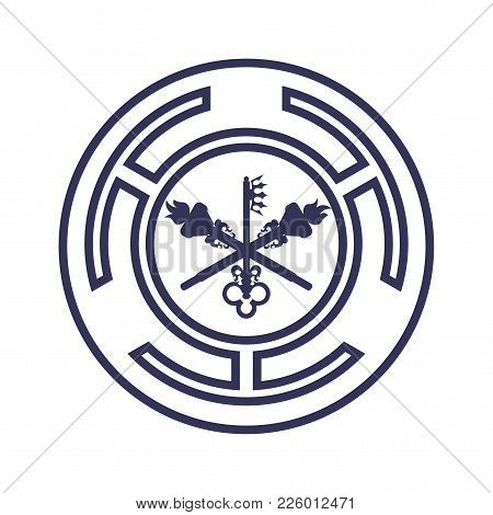 Goddess Hecate Also Known As Triple Goddess Crone Vector Symbol. Hecate Wiccan Sign Or Seal With Key