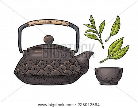 Traditional Asian Teapot With Pattern And Cup. Vector Color Vintage Engraving Illustration Isolated