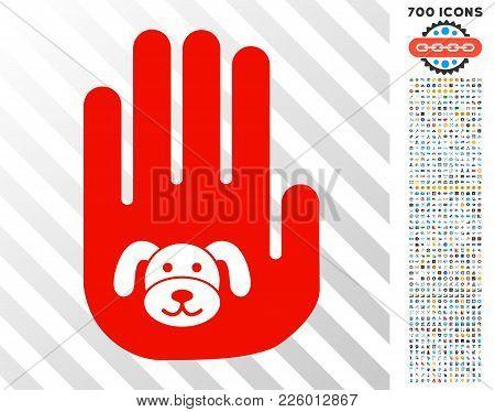 Stop Hand Puppy Icon With 7 Hundred Bonus Bitcoin Mining And Blockchain Symbols. Vector Illustration
