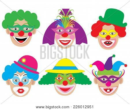 Set Of Face Of Clowns, Icons. Vector Illustration.