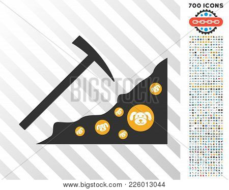 Mining Puppycoin Rocks Icon With 7 Hundred Bonus Bitcoin Mining And Blockchain Pictographs. Vector I