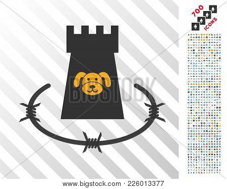 Puppycoin Barbwire Bulwark Icon With 700 Bonus Bitcoin Mining And Blockchain Icons. Vector Illustrat