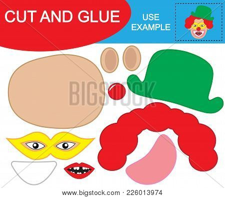 Create The Image Of Face Of Toothless Clown Using Scissors And Glue. Educational Game For Children.