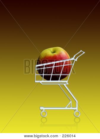 healthy buy. apple in a shopping cart poster
