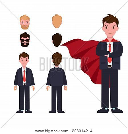 Businessman In Formal Suit And Red Cloak Constructor With Spare Heads And Whole Body Isolated Cartoo