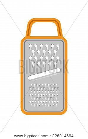 Grater Icon Isolated On White Background Vector Illustration Of Kitchen Device With Orange Frame And