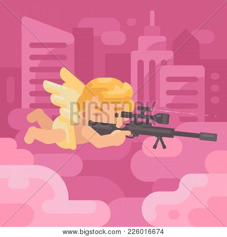 Cute Cupid Lying On A Cloud Shooting A Sniper Rifle With Skyscrapers In The Background. Valentines D