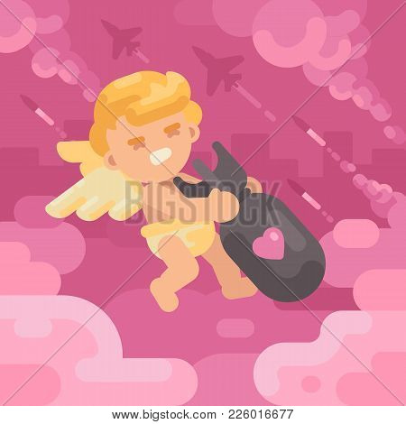 Cute Cupid Dragging A Heavy Love Bomb With Military Planes And Missiles Launching In The Background.