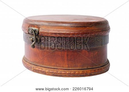 A Vintage Wooden Dusty Jewelery Box On A White Background, Isolated