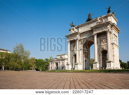 The Peace Arch, A Triumphal Arch Erected In Milano In 1838 And A Major Landmark Of The City, Milan,