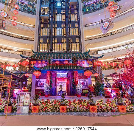 Malaysia, Kuala Lumpur - 2018 February 05: Colourful Decoration Of Suria Klcc Shopping Center Chines
