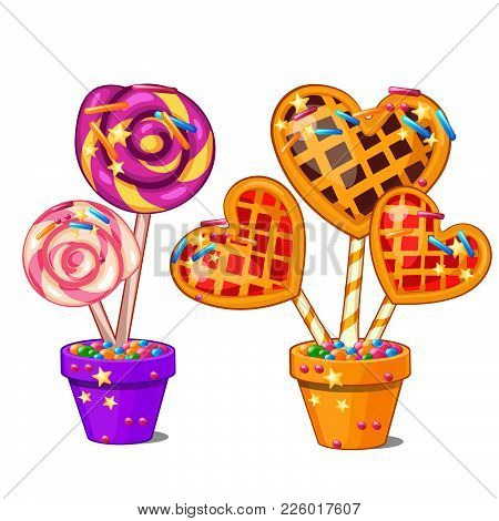 Lollipops. Vector Isolated, Stick, Strawberry, Lolly, Delicious.
