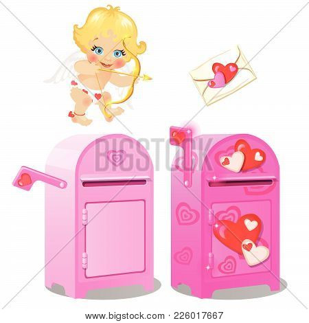 A Mailbox For Love Letters And Cupid. Vector.