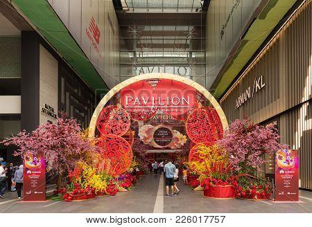 Malaysia, Kuala Lumpur - 2018 February 05: Colourful Decoration Of Pavillion Shopping Center Chinese