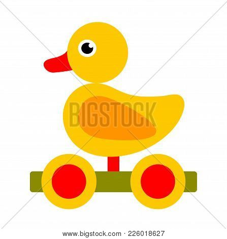 Vector Wooden Duck Pull Toy Isolated On White Background