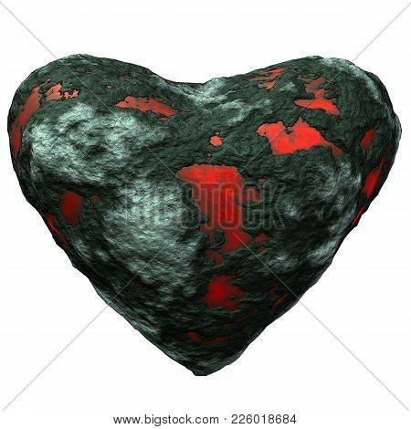 Abstract Petrous Heart 3d Illustration- Heart Over Withe