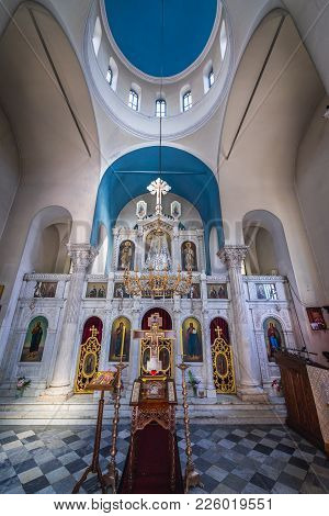 Herceg Novi, Montenegro - May 24, 2017: Interior Of Archangel Michale Orthodox Church On The Old Tow