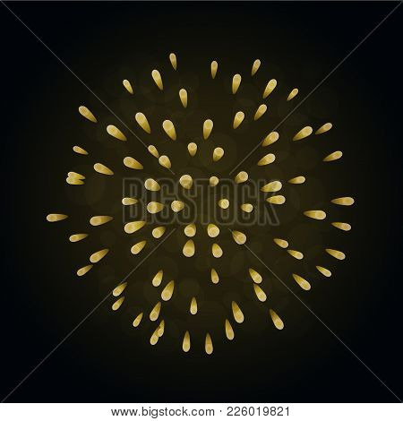 Beautiful Gold Firework. Bright Firework Isolated On Black Background. Light Golden Decoration Firew
