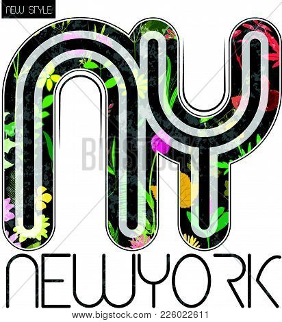 New York Flower Graphic Tee Design Fashion Style New Design